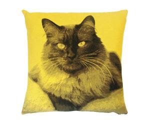 Kussen kattenkop, geel, 45 x 45 cm