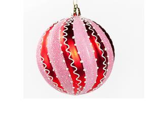 Set van 12 kerstballen Swirl Stripe, roodroze, 10 cm