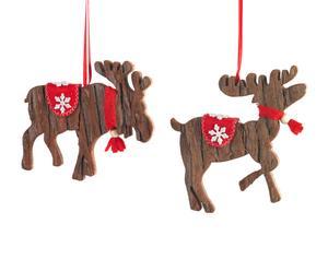 Set van 2 kerstornamenten Hert en Eland, 14 cm