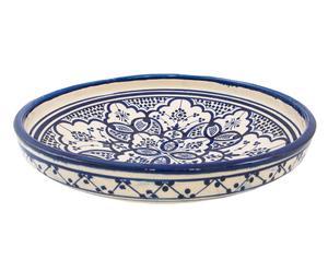 platte schaal, Marokkaans aardewerk, blauw/wit