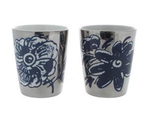 Zilveren kopjes met bloem, 2-delig