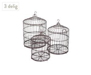 Set met 3 decoratieve vogelkooien, metaal