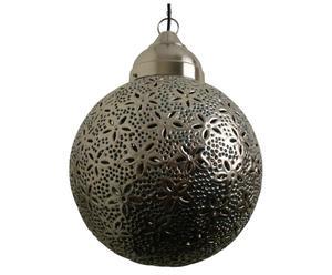 Hanglamp Asmita rond, bloem, nikkel, turquoise
