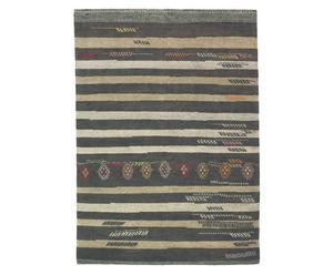 Vloerkleed gestreept taupe, 170 x 240 cm, wol