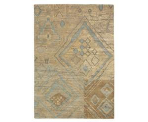 Vloerkleed beige en blauw, 170 x 240 cm, wol