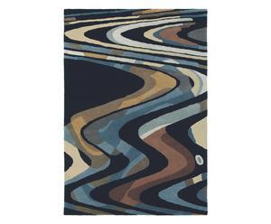 Vloerkleed, zwart en paars, 160 x 230 cm, wol