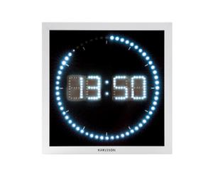 Wandklok LED The Time Roll, vierkant