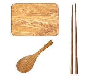 Chop sticks, rijstlepel en sushi serveerbord