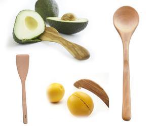 Set van pollepel, spatel, sinaasappelschiller en avocadolepel