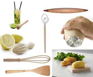 Citroenpers, muddler, garde, wokspatel, deegroller, deeglepel, vleeshamer en serveerplankje