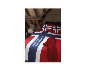 Dekbedovertrekset Norway, rood en marineblauw, 240 x 220 cm