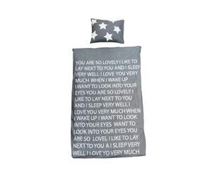 Dekbedovertrek HS Lovely (Dreaming of you), grijs/wit, 140 x 200 cm