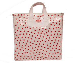 Shopper Polkadot met handvat, wit, rood