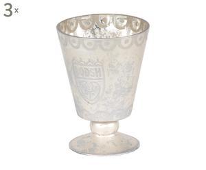 Set van 3 theelichthouders Theodor, zilver, H 18 cm