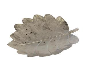 Decoratieve schaal Leaf raw III, zilver, L 42 cm