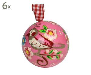 Set van 6 kerstornamenten Ball Small with bird, roze