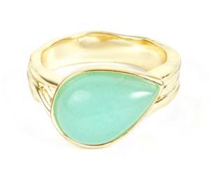 Ring Amazoniet, handgemaakt, goud