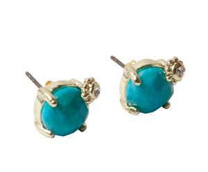 Oorbellen Turquoise, handgemaakt, goud
