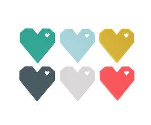 Set van 6 onderzetters Origami Heart