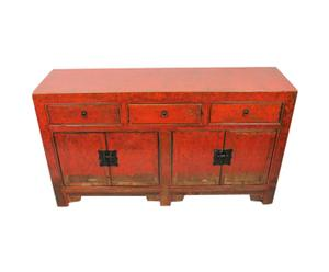 Chinees dressoir Kuan, rood/oranje, L 145 cm