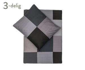 Dekbedovertrek-set Block II, antraciet, 200 x 200-220 cm