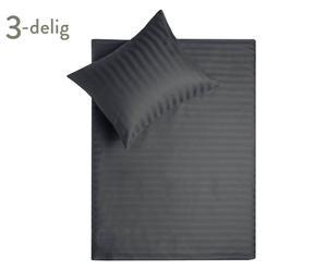 Satijnendekbedovertrek-set Satin, grijs, 200 x 200-220 cm