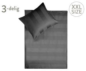 Satijnen dekbedovertrek-set, Grijs, 240x200/220