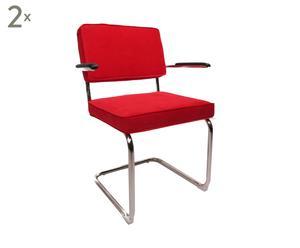 Set van 2 stoelen Rib met armleuning, rood, L 52 cm