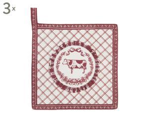 Set van 3 pannenlappen Ines ll, rood/wit, 21 x 21 cm