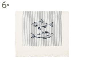 Set van 6 keukendoeken Nemo, blauw/wit, 60 x 40 cm