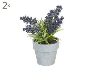 Set van 2 decoratieve objecten Lavendel I, grijs, H 15 cm