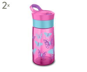 Set van 2 drinkbekers Gracie KIDS, roze/baluw, H 19 cm