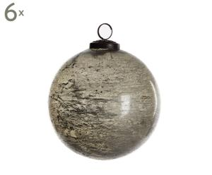 Set van 6 kerstballen Glas III, grijs, diameter 13 cm