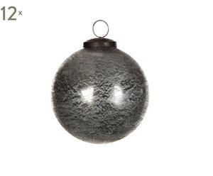 Set van 12 kerstballen Glas I, zilver, diameter 7,5 cm