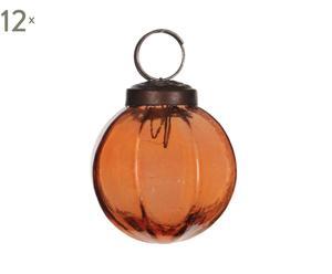 Set van 12 kerstballen Glas I, koper/oranje, diameter 5 cm