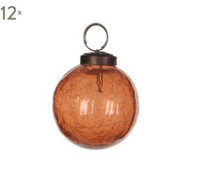 Set van 12 kerstballen Glas II, koper/oranje, diameter 5 cm