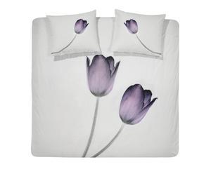 1-Persoons Damai Dekbedovertrekset satijn Tulip, 140 x 220 cm, Wit/paars