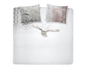 1-Persoons Damai Dekbedovertrekset katoen Owl, 140 x 220 cm, Wit/beige
