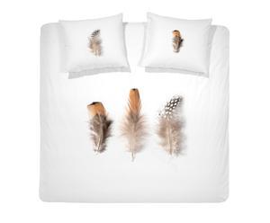 1-Persoons Damai Dekbedovertrekset satijn Feather, 140 x 220 cm, wit/beige