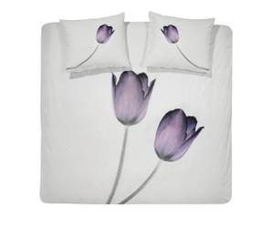 1-Persoons DBO Damai satijn Tulip, wit/paars, 140 x 220 cm