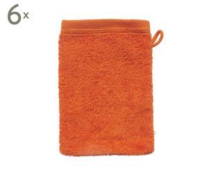 Set van 6 washandjes Dusty Orange, 16,5 x 22 cm