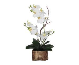 Pot met kunstbloem Orchidee, wit, H 42 cm