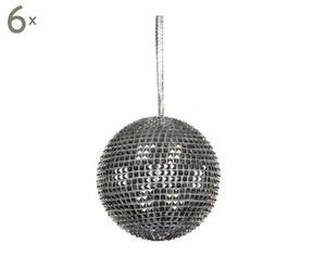 Set van 6 kerstballen Lavatrie, zilver, diameter 12 cm