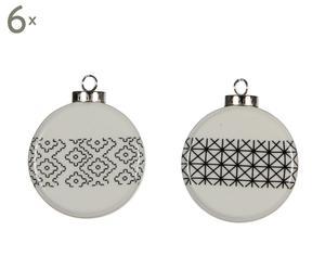 Set van 12 kerstballen Lucknow, wit, diameter 7 cm