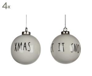 Set van 8 kerstballen Listowel, wit, diameter 7,3 cm