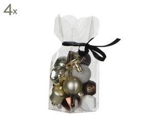 Set van 60 kerstballen Niverville, wit/bruin/champagne, diameter 4 cm