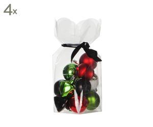 Set van 60 kerstballen Niverville, wit/zwart/rood/groen, diameter 4 cm