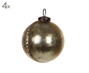 Set van 4 kerstballen Paisley, goud, diameter 10 cm