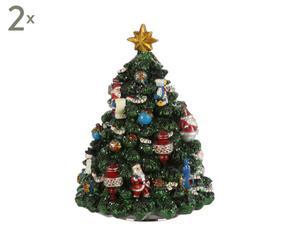 Set van 2 decoratieve kerstbomen Nelson, multicolour, H 16,5 cm