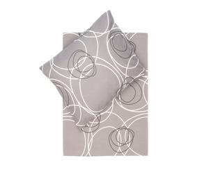 Dekbedovertrek-set Finn I, grijs/wit/bruin, 140 x 200/220 cm